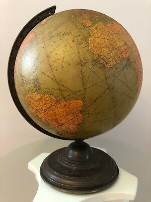 """Copyright 1934 Replogle 12"""" Library Globe on Brown Metal Stand"""
