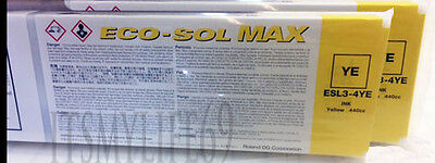 2 Original 100% Roland Eco Sol Max ESL-3  New Sealed 440 Yellow