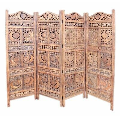 Wooden Room Divider Carved With Sun  And Moon Screen, Brown. Impressive!!!!