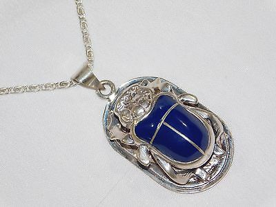 925 Solid Silver Stamped Egyptian Scarab Beetle Blue Enameled Pendant Free Chain