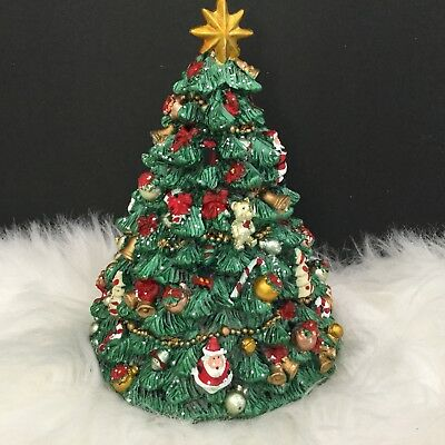 Revolving Musical Christmas Tree Music Box Resin Decorated Gisela Graham