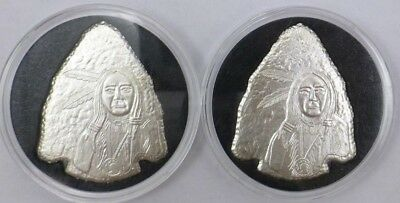 Lot of 2 SilverTowne Native American Arrowhead's Each 1 oz .999 Fine Silver