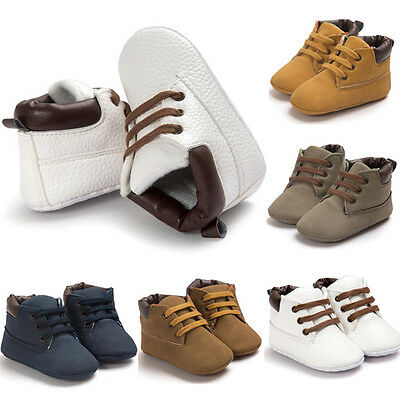 Baby Shoes Toddler Boys Girls Soft Sole Crib Shoes Leather Anti-slip Sneakers