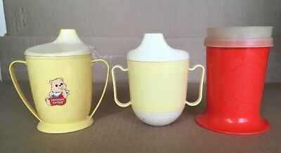 Lot Of 3 Vintage Tommee Tippee Tupperware Sippy Cups Kids Child