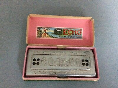 The Echo Harp Mouth Organ Harmonica in box German made 1930's?
