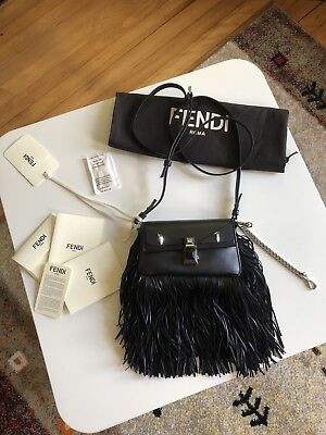 FENDI BLACK FRINGED Bag Bugs Micro Baguette Bag Retail For  1,980 ... fc2f6ca16f