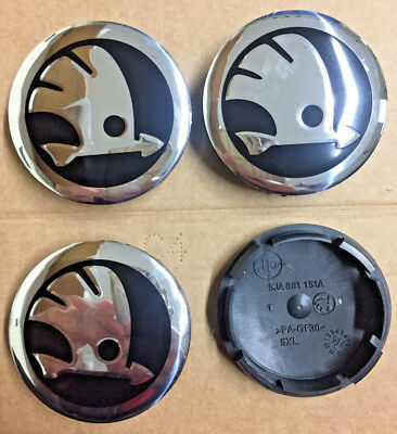 Skoda Black/Chrome Alloy Wheel Centre Cap Emblem Set Of 4 Hub Cap 56mm Universal