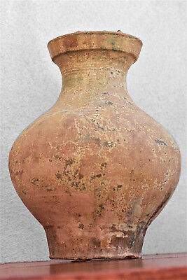 Chinese Han Dynasty Glazed Terracotta Vase, Earth Tone with Green 206BC-220 AD