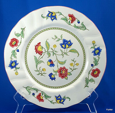 "Villeroy and Boch Persia Dinner Plate Floral Red Trim 10-3/8"" Scalloped"