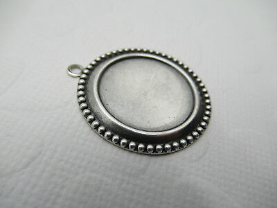 18mm Round Setting Oxidized Silver Plated Brass Beaded Edge Bezel Frame - Qty 2
