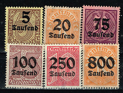 Germany Weimar Republic Hyperinflation Official Stamps upto 800K DM 1923 MLH