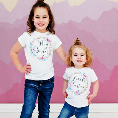 Matching Cotton Clothes Big Sister T-shirt Blouse Little Sister Romper Outfits