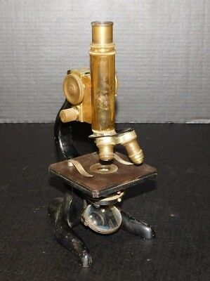 Antique E. Leitz Wetzlar Brass Microscope 2 Objective Magnifying Lens Wellesley
