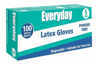 Everyday 100 Powder Free Latex Disposable Gloves. Bulk Buy - All Sizes Avail.
