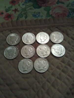 Lot of 10 silver peace dollars 1922/1923/1924