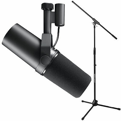Shure SM7B Cardioid Dynamic Microphone with Tripod Mic Stand & Fixed-Length Boom