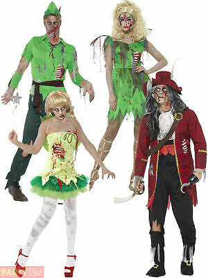 Adults Peter Pan Zombie Costume Mens Ladies Fairy Pirate Halloween Fancy Dress