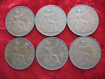 Lot of 6 English Large Penny's 1927, 1928, 1929, 1930, 1931, 1932! NICE COINS!