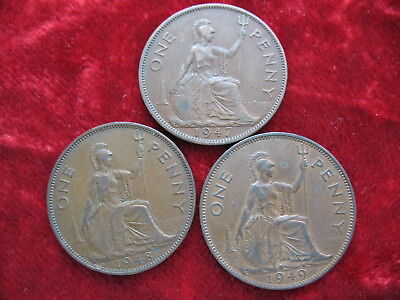 Lot of (3) English Penny's 1947, 1948 & 1949 Tougher Date's! Large 3CM Coins!