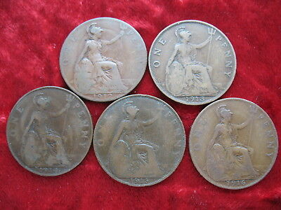 Lot of 5 English Large Penny's, 1912, 1913, 1914, 1915 & 1916! NICE COINS!
