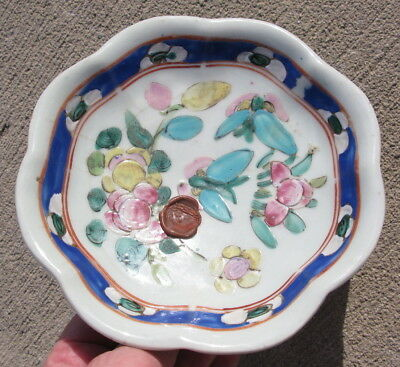 Antique Chinese porcelain footed plate hand enameled 6.5x1.5in #2802 compote