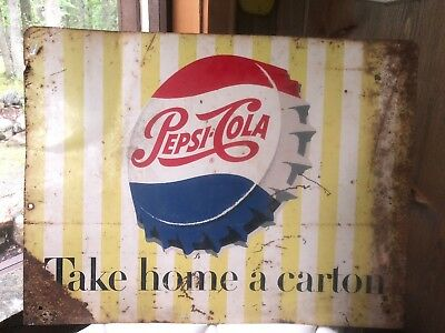 vintage pepsi cola sign original two sided soda