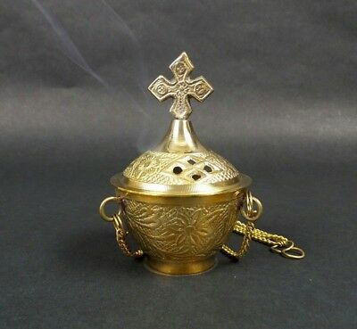 Carved Cross Brass Hanging Incense Burner Censer Resin Church Vestment Altar