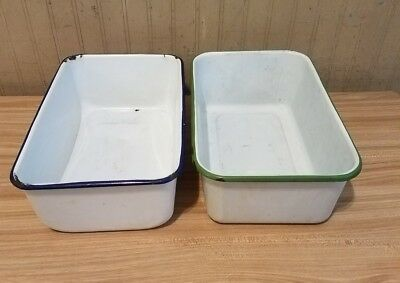 Antique Porcelain Enamel Metal Containter Bin (LOT OF 2) White with Green & Blue