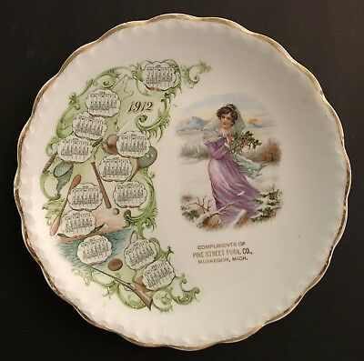 Antique 1912 Advertising Plate/Calendar ~ PINE STREET FURN. CO., MUSKEGON, MICH.