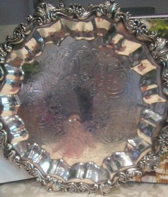 Vintage SHERIDAN Round Silver Plate Footed Serving Tray