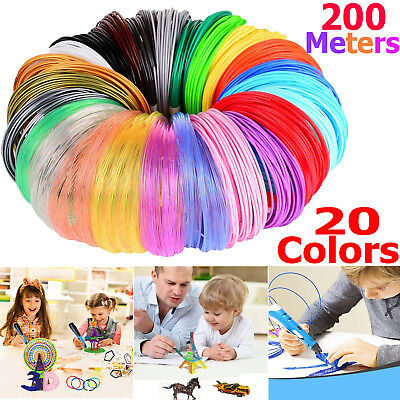 20 Pack x 10m ABS Filament 1.75mm For 3D Printer Printing Drawing Pen UK