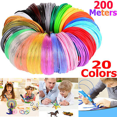 20 Packs x 10m ABS Filament 1.75mm For 3D Printer Printing Drawing Pen Kids Gift