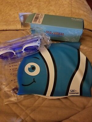 Eversport Kids Swim Cap and Pulabecs Kids Swim Goggles