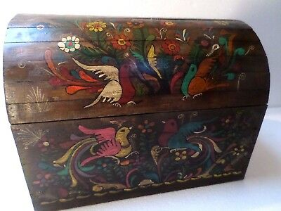 """Mexican Folk Art 17"""" Wood Dowry Chest Baul Box Colonial Furniture Painted Birds"""