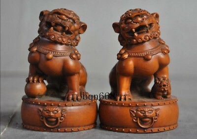 "3"" A pair China old Boxwood wood Hand carved Beast lucky Lion pixiu Statue"