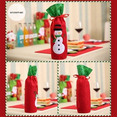 Christmas Decoration Red Wine Bottle Cover Bags - Snowman Santa Claus Elk Table