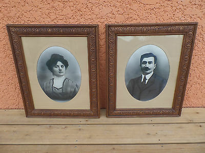 Antique Pairs Of Portraits Frame/photo Black And White Couple/haunted Mansion