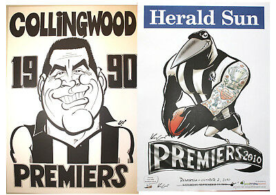 1990 & 2010 Collingwood Magpies Weg Posters Premiership Poster Grand Final