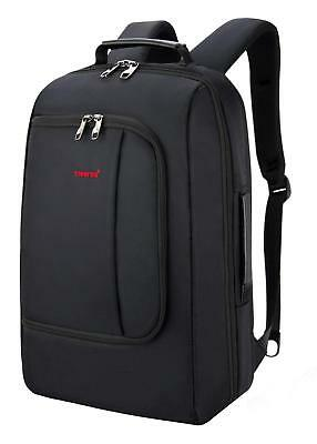 Black Silm Business Travel Backpack with USB charging Port Fits 15.6 Inch Laptop