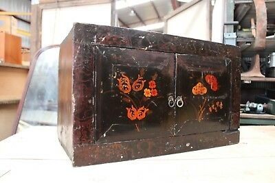 Vintage Black Laquer Chinese Cabinet Chest Box Hand Painted