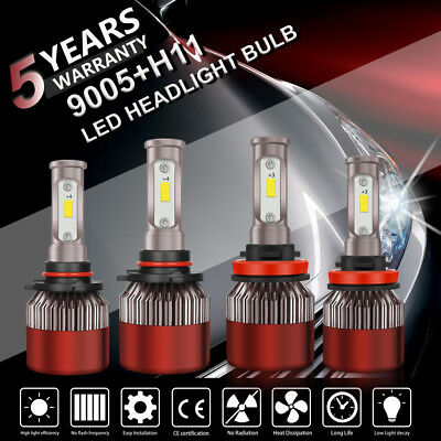 4X 9005 H11 6000K 2000W 300000LM Combo LED Headlight Kit High Low Light Bulb