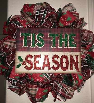Tis The Season Christmas Wreath Handmade Holiday Red White Green