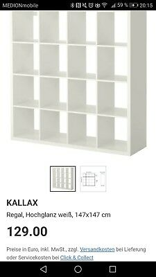 Regal weiß ikea  KALLAX REGAL WEIß matt (4x4) IKEA Expedit 147x147cm - EUR 80,00 ...