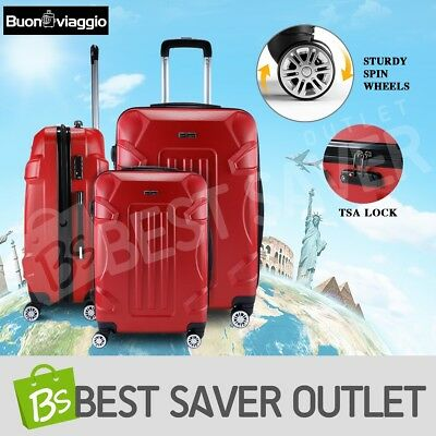 3x Luggage Suitcase Set Trolley Hard Shell Case TSA Lightweight Spinner - Red