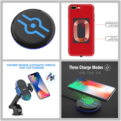 QI Wireless Charger Pad Stand Dock Car Mount Phone Case for iPhone 6S​ 7S 7+ 6+