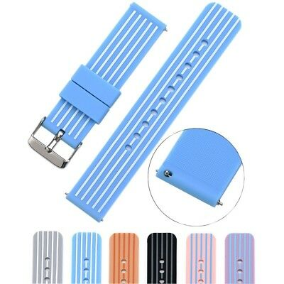 (18mm, blue/white) - Cumeou Silicone Replacement Quick Release Watch Band