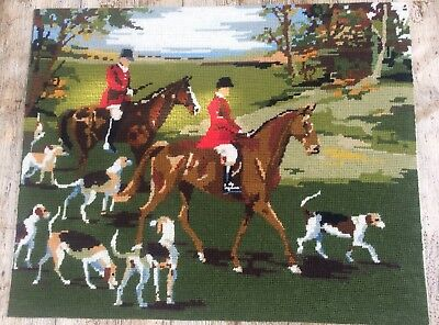 Fab Vtg Completed Needlepoint Tapestry Autumn Fox Hunt Riders Hounds Countyside