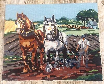Fab Vtg Completed Needlepoint Tapestry Old Friends Shire Horses & Plough