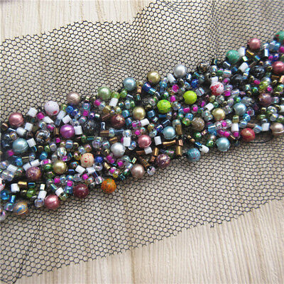 10cm Vintage Colorful Pearl Beads Mesh Lace Trim Ribbon Wedding Applique Sewing