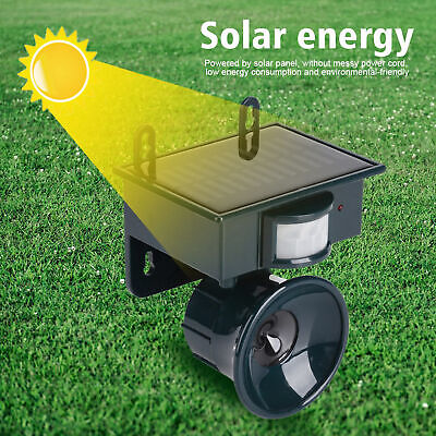 Solar Powered PIR Motion Sensor Ultrasonic Pest Repeller Bird Dog Cat Fox Mouse